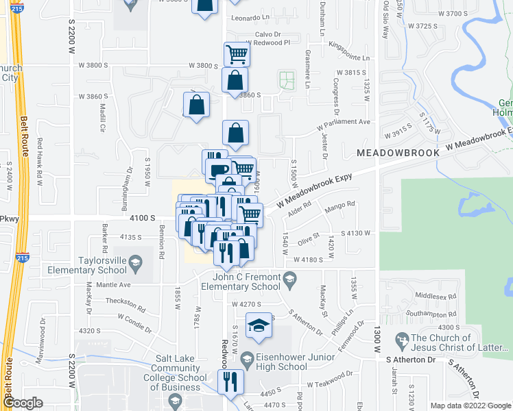 map of restaurants, bars, coffee shops, grocery stores, and more near 4065 Redwood Road in Salt Lake City