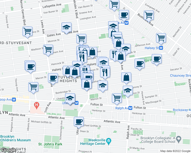 map of restaurants, bars, coffee shops, grocery stores, and more near 98 Sumpter Street in Brooklyn