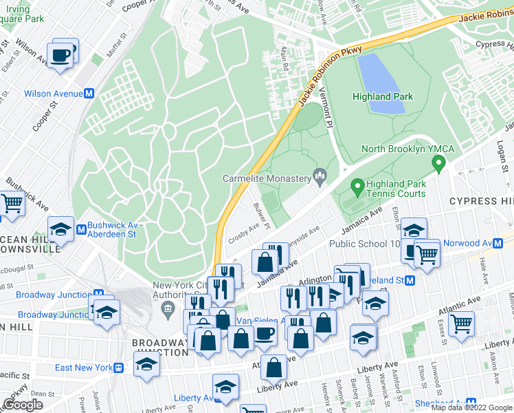 map of restaurants, bars, coffee shops, grocery stores, and more near Bulwer Place in Brooklyn