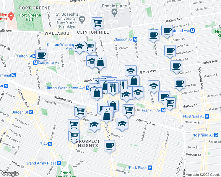 map of restaurants, bars, coffee shops, grocery stores, and more near 983 Fulton Street in Brooklyn