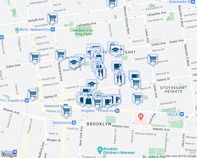 map of restaurants, bars, coffee shops, grocery stores, and more near 396 Tompkins Avenue in Brooklyn