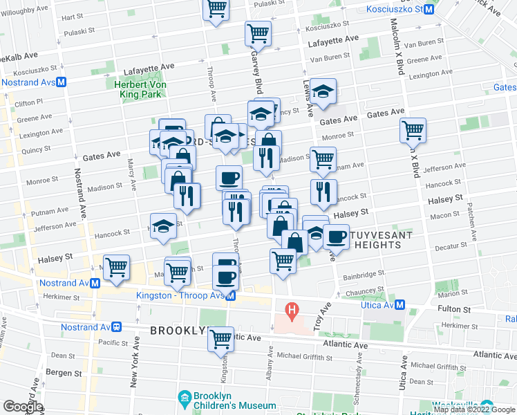 map of restaurants, bars, coffee shops, grocery stores, and more near 465 Jefferson Avenue in Brooklyn