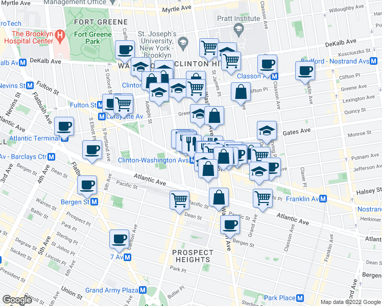 map of restaurants, bars, coffee shops, grocery stores, and more near 55 Gates Avenue in Brooklyn