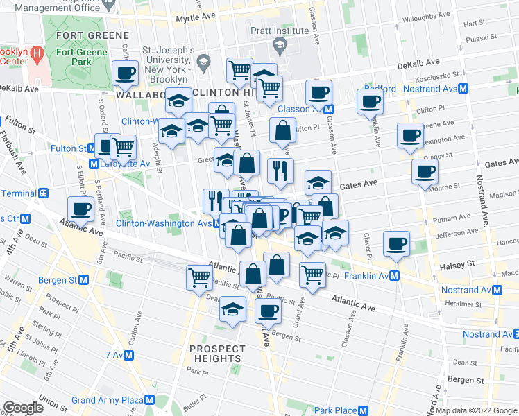 map of restaurants, bars, coffee shops, grocery stores, and more near St James Pl in Brooklyn