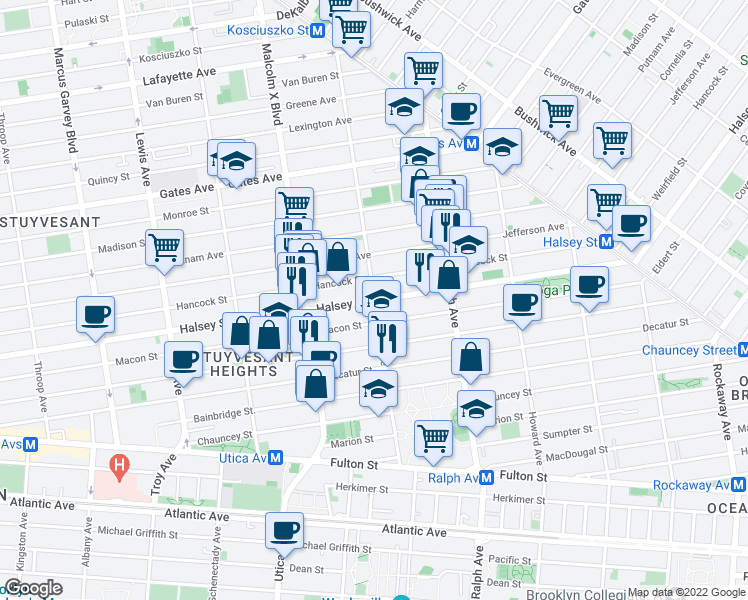 map of restaurants, bars, coffee shops, grocery stores, and more near Halsey St & Patchen Ave in Brooklyn
