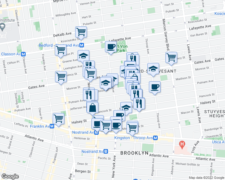 map of restaurants, bars, coffee shops, grocery stores, and more near 833 Marcy Avenue in Brooklyn