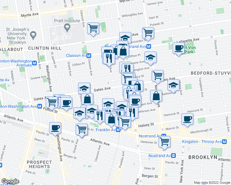 map of restaurants, bars, coffee shops, grocery stores, and more near 65 Monroe Street in Brooklyn