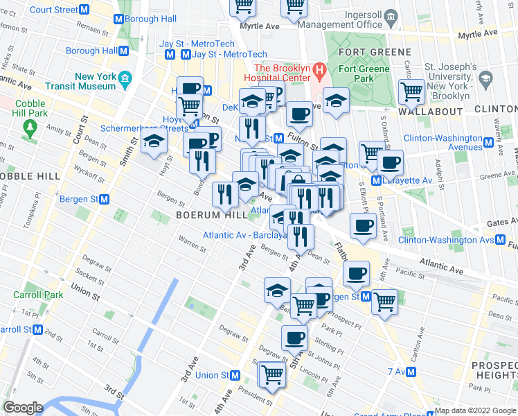 map of restaurants, bars, coffee shops, grocery stores, and more near 343 Bergen Street in Brooklyn