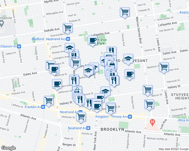 map of restaurants, bars, coffee shops, grocery stores, and more near Madison Street & Marcy Avenue in Brooklyn