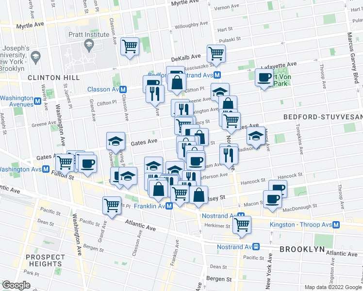 map of restaurants, bars, coffee shops, grocery stores, and more near 111 Monroe Street in Brooklyn