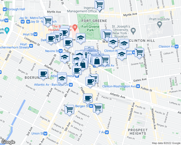 map of restaurants, bars, coffee shops, grocery stores, and more near 114 South Elliott Place in Brooklyn