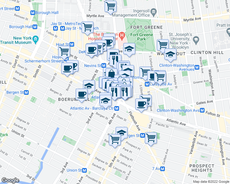 map of restaurants, bars, coffee shops, grocery stores, and more near 72 4th Avenue in Brooklyn