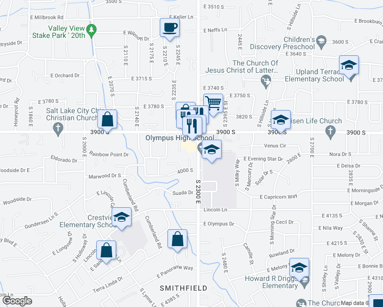 map of restaurants, bars, coffee shops, grocery stores, and more near 3938 South 2300 East in Salt Lake City