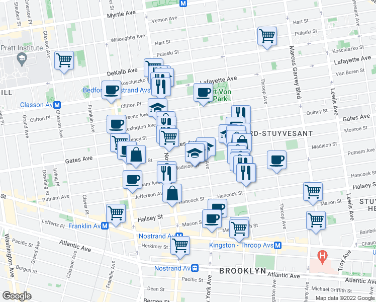 map of restaurants, bars, coffee shops, grocery stores, and more near 243 Monroe Street in Brooklyn