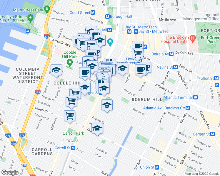 map of restaurants, bars, coffee shops, grocery stores, and more near 89 Wyckoff Street in Brooklyn