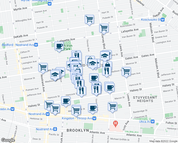 map of restaurants, bars, coffee shops, grocery stores, and more near 406 Monroe Street in Brooklyn