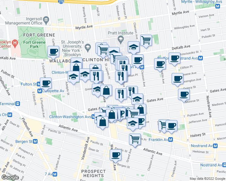 map of restaurants, bars, coffee shops, grocery stores, and more near 103 Saint James Place in Brooklyn