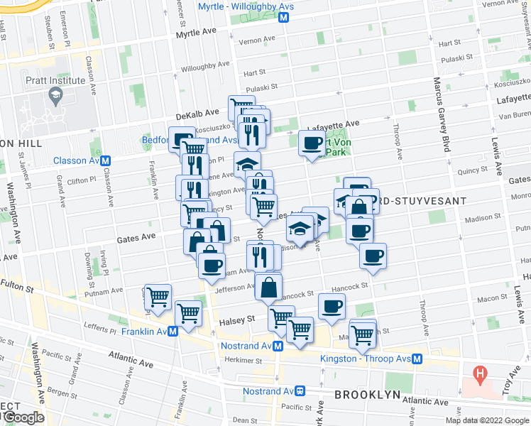 map of restaurants, bars, coffee shops, grocery stores, and more near 404 Gates Avenue in Brooklyn