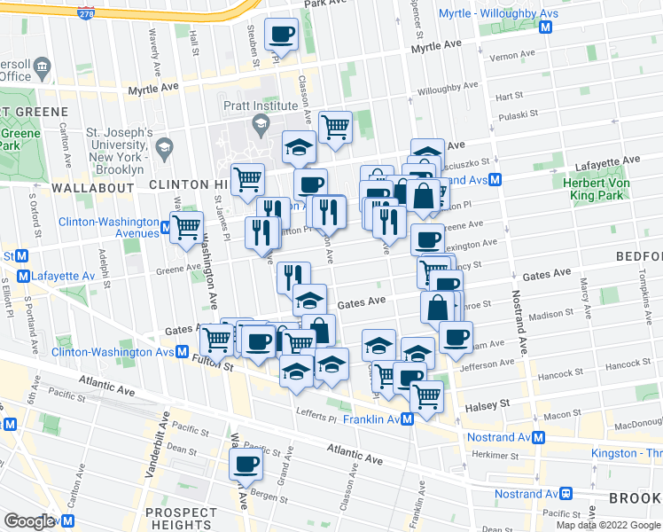 map of restaurants, bars, coffee shops, grocery stores, and more near Classon Avenue & Lexington Avenue in Brooklyn
