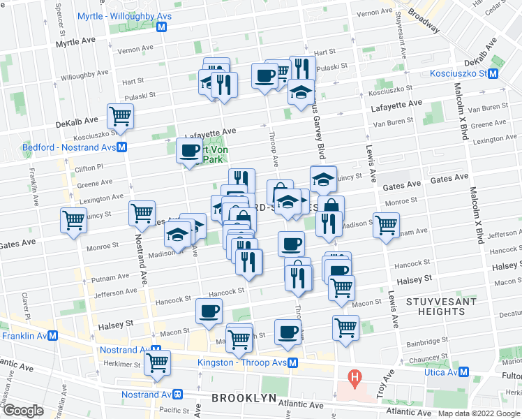 map of restaurants, bars, coffee shops, grocery stores, and more near 582 Gates Avenue in Brooklyn
