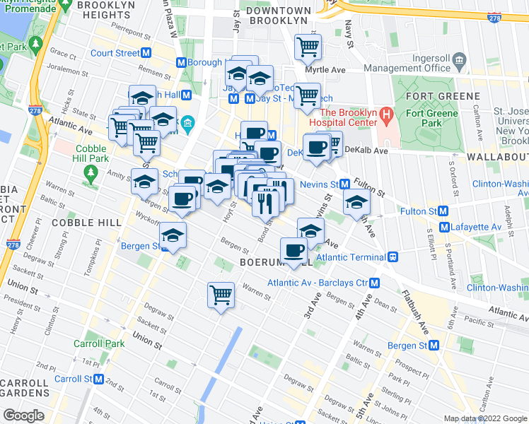 map of restaurants, bars, coffee shops, grocery stores, and more near 392 Atlantic Avenue in Brooklyn
