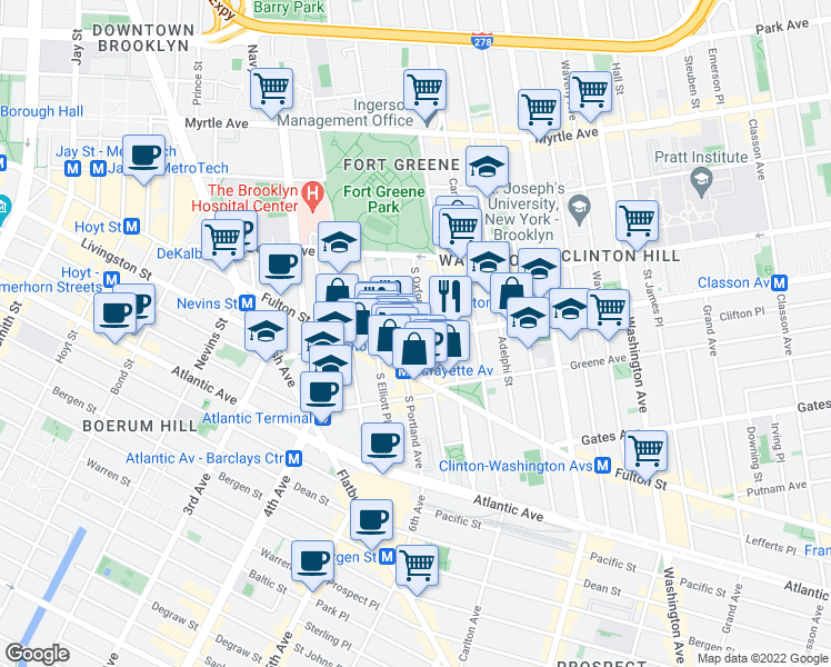 map of restaurants, bars, coffee shops, grocery stores, and more near 101 Lafayette Avenue in Brooklyn