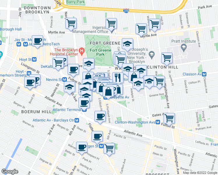 map of restaurants, bars, coffee shops, grocery stores, and more near 103 Lafayette Avenue in Brooklyn