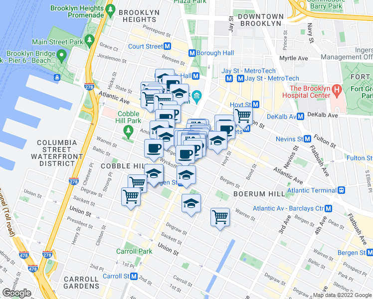 map of restaurants, bars, coffee shops, grocery stores, and more near Bridge Plaza Court in Brooklyn