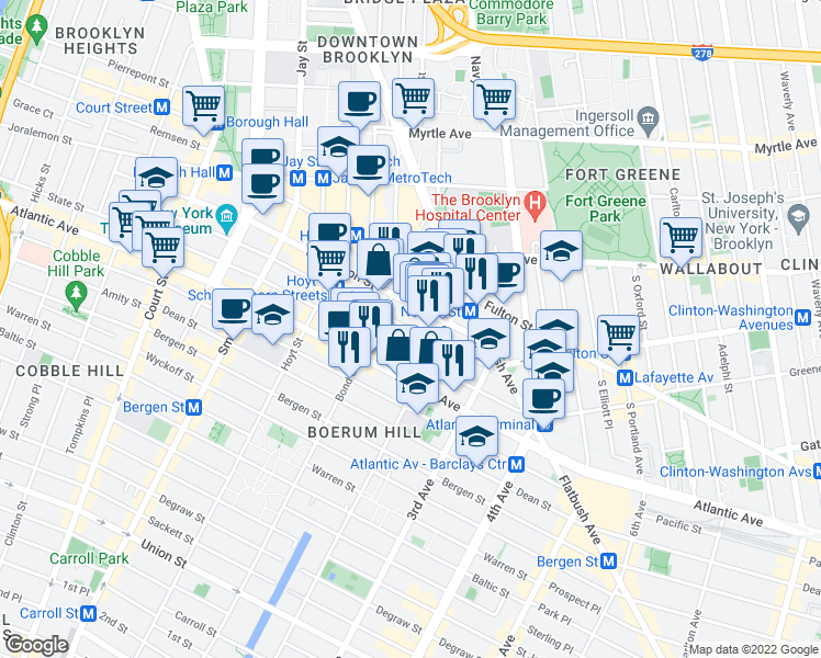 map of restaurants, bars, coffee shops, grocery stores, and more near 274 Schermerhorn Street in Brooklyn