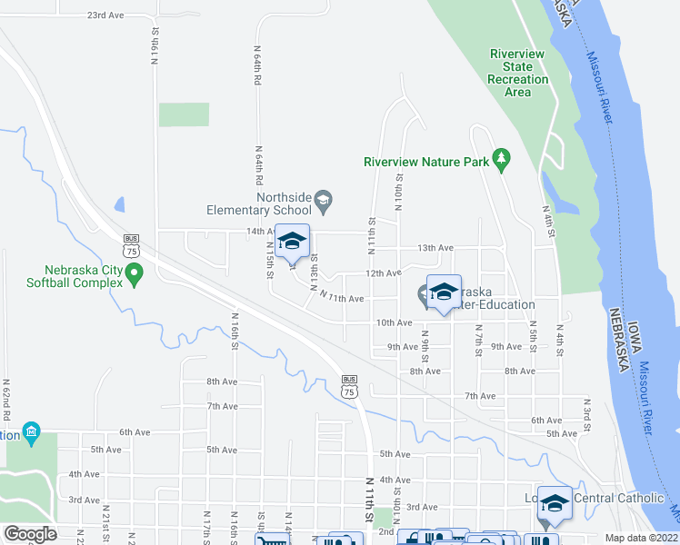 map of restaurants, bars, coffee shops, grocery stores, and more near 1200-1298 12th Avenue in Nebraska City