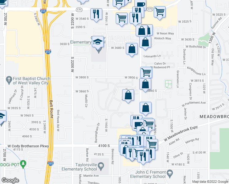 map of restaurants, bars, coffee shops, grocery stores, and more near West 3900 South in Salt Lake City