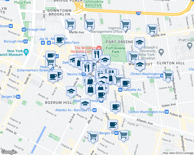 map of restaurants, bars, coffee shops, grocery stores, and more near Ashland Pl & Fulton St in Brooklyn