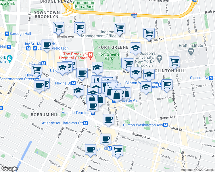 map of restaurants, bars, coffee shops, grocery stores, and more near 59 South Elliott Place in Brooklyn