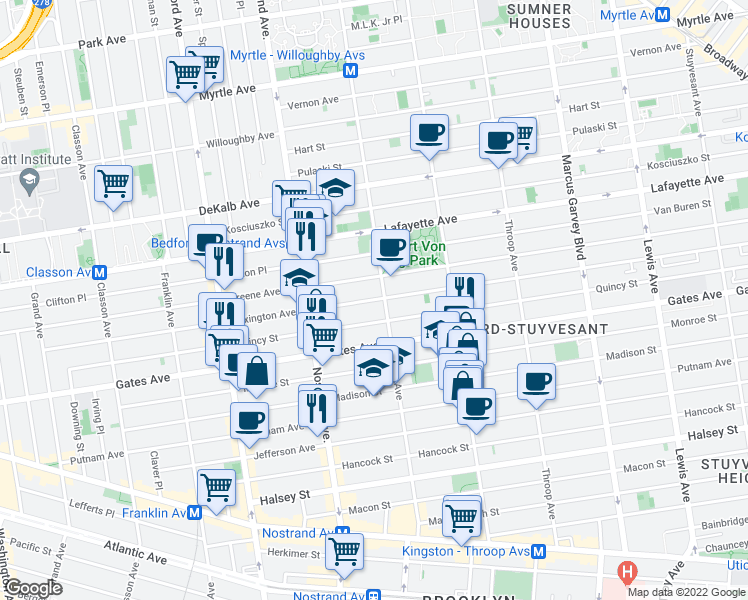 Map Of Restaurants Bars Coffee Shops Grocery Stores And More Near 340