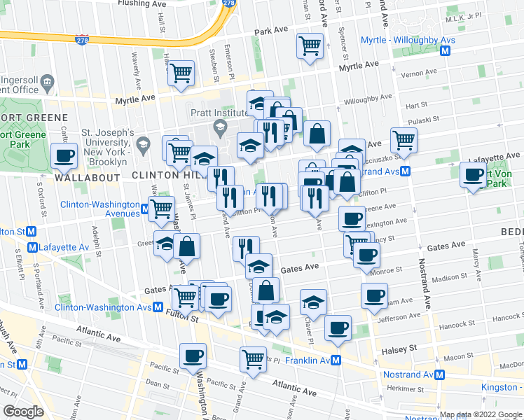 map of restaurants, bars, coffee shops, grocery stores, and more near Clifton Place in Brooklyn