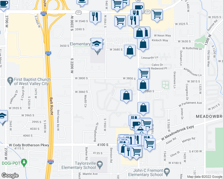 map of restaurants, bars, coffee shops, grocery stores, and more near 3810 South Redwood Road in West Valley City