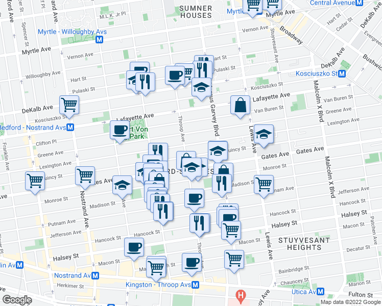 map of restaurants, bars, coffee shops, grocery stores, and more near 461 Quincy Street in Brooklyn
