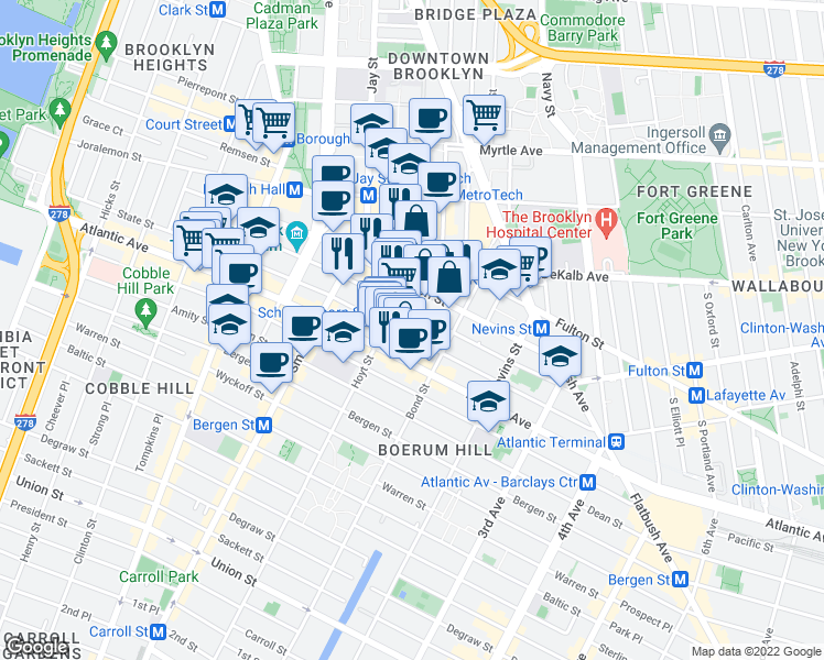 map of restaurants, bars, coffee shops, grocery stores, and more near 197-211 Schermerhorn Street in Brooklyn