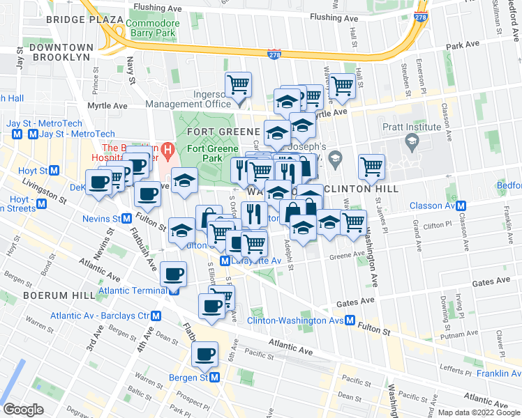 map of restaurants, bars, coffee shops, grocery stores, and more near 296 Carlton Avenue in Brooklyn
