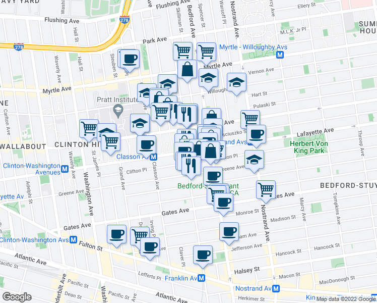 map of restaurants, bars, coffee shops, grocery stores, and more near Lafayette Avenue & Franklin Avenue in Brooklyn