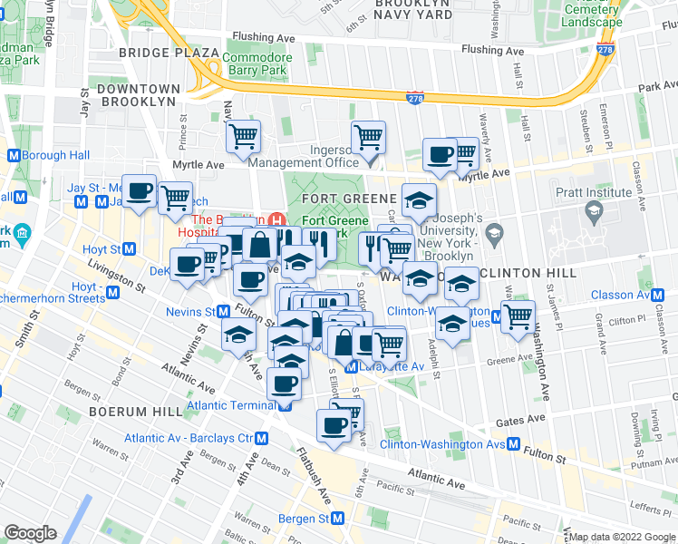 map of restaurants, bars, coffee shops, grocery stores, and more near Dekalb Avenue in Brooklyn