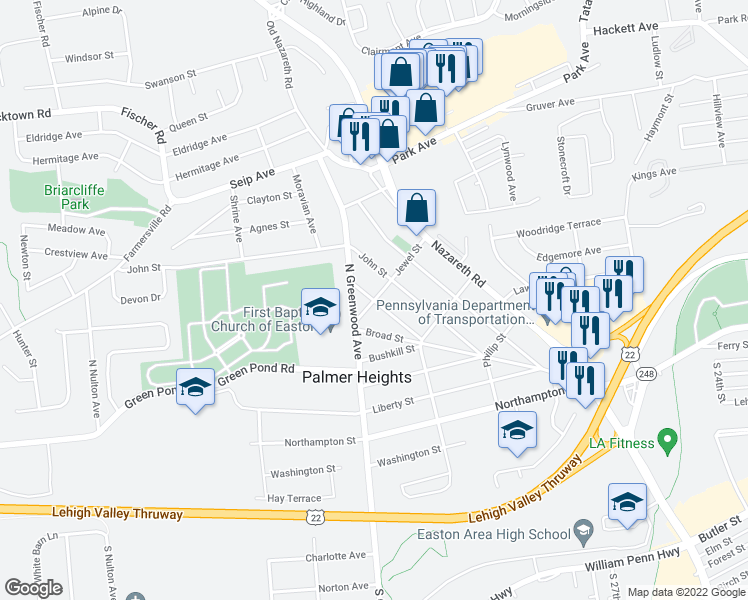 map of restaurants, bars, coffee shops, grocery stores, and more near Mary Street in Easton