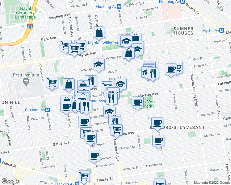 map of restaurants, bars, coffee shops, grocery stores, and more near 118 Kosciuszko Street in Brooklyn