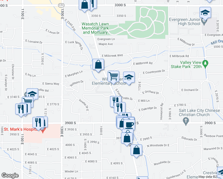 map of restaurants, bars, coffee shops, grocery stores, and more near 3716 Highland Drive in Millcreek