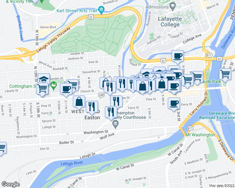 map of restaurants, bars, coffee shops, grocery stores, and more near 675 Pine Street in Easton