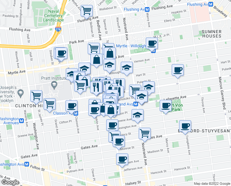 map of restaurants, bars, coffee shops, grocery stores, and more near Dekalb Avenue & Spencer Street in Brooklyn