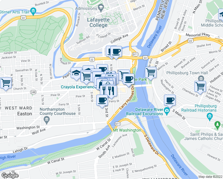 map of restaurants, bars, coffee shops, grocery stores, and more near 5 Centre Square in Easton