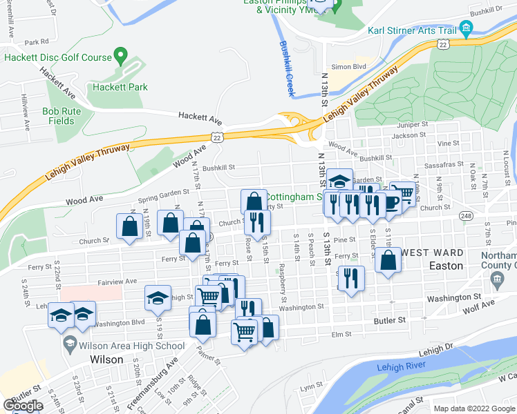 map of restaurants, bars, coffee shops, grocery stores, and more near 1503 Northampton Street in Easton