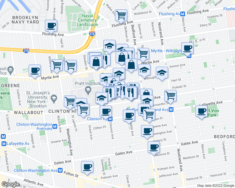 map of restaurants, bars, coffee shops, grocery stores, and more near 970 Kent Avenue in Brooklyn