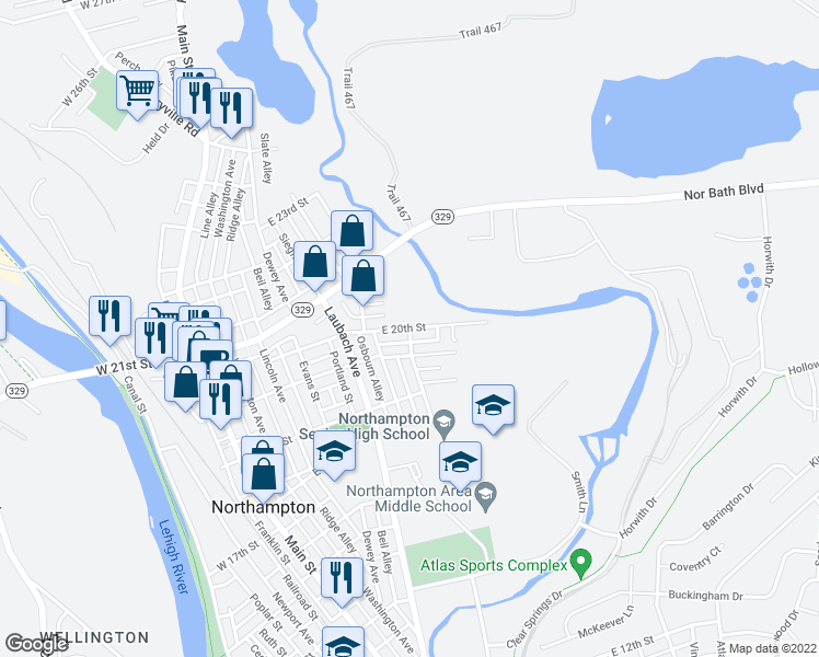 map of restaurants, bars, coffee shops, grocery stores, and more near Hokendauqua Avenue in Northampton